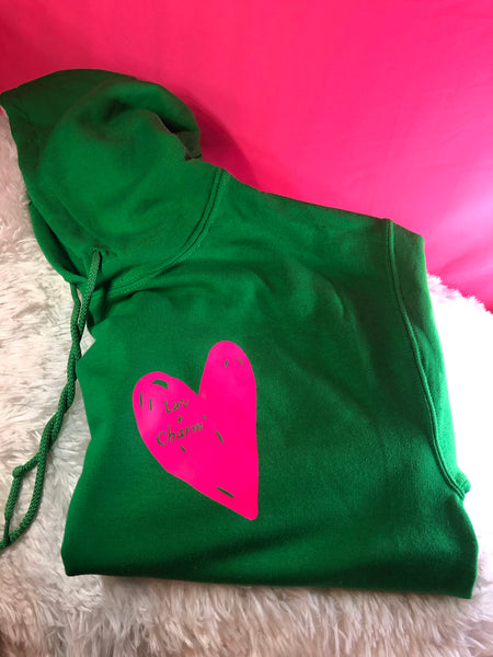 Luv + Charm Unisex Hooded Sweatshirt (Green w/ pink heart)