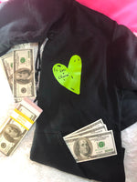 Luv + Charm Unisex Hooded Sweatshirt (Black w/green heart)