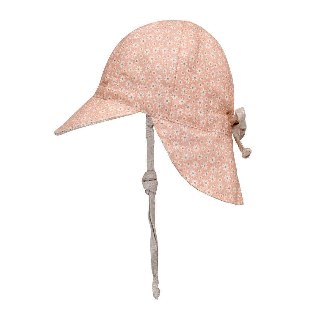 Reversible Baby Flap Sun Hat - Polly / Flax