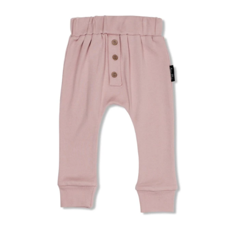 Button Slouch Pants- Rose