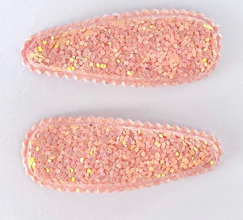 Peach Glitter Clip Set