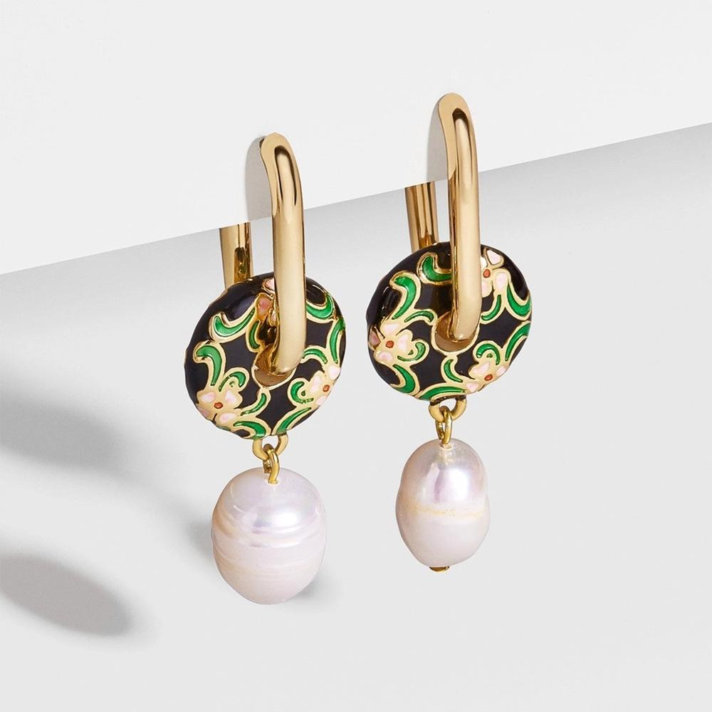 Sunny Hazel x HUNTED Ela, Enamel Flower & Pearl Drop Earrings