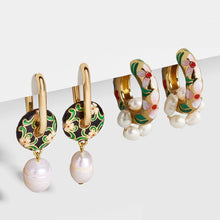 Load image into Gallery viewer, Sunny Hazel x HUNTED Ela, Enamel Flower & Pearl Drop Earrings