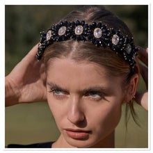 Load image into Gallery viewer, Sarah  J Curtis - Black Daisy Crystal Alice Band