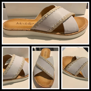 Modelle - 0183 Leather slide White