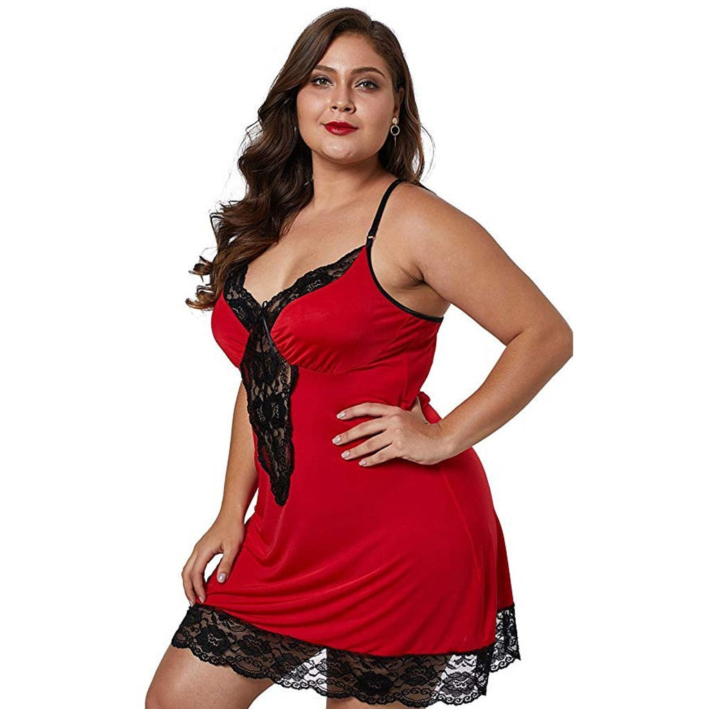 Nuisette satin rouge grande taille