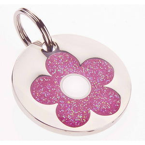 Glittery Pink Daisy Pet Tag-Best4Bulldogs