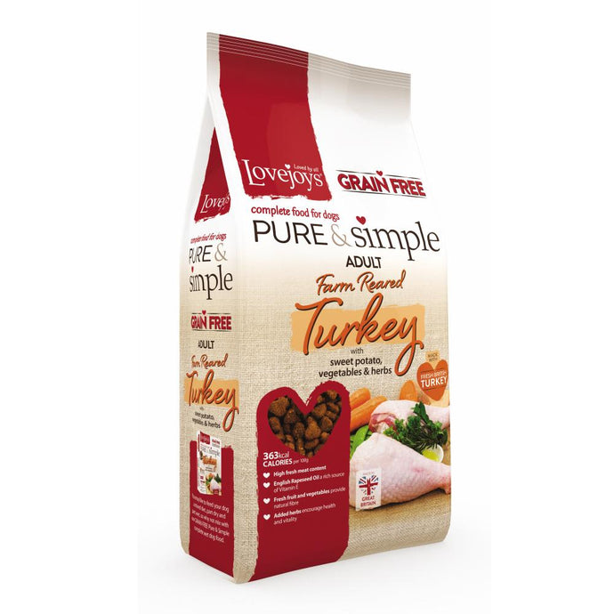 Lovejoys Pure & Simple Grain Free Dog Food with Turkey 12kg-Best4Bulldogs