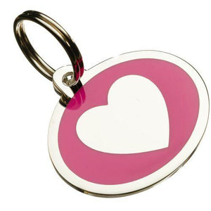 Coloured Heart Styled Oval Pet Tags