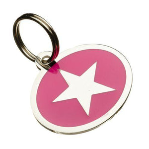 Coloured Star Styled Oval Pet Tags