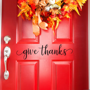 Give Thanks Front Door Decal
