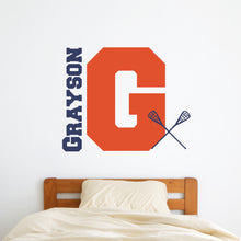 Load image into Gallery viewer, Personalized Name and Initial Lacrosse Wall Decal