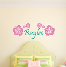 Load image into Gallery viewer, Personalized Name Hibiscus Flowers Wall Decal
