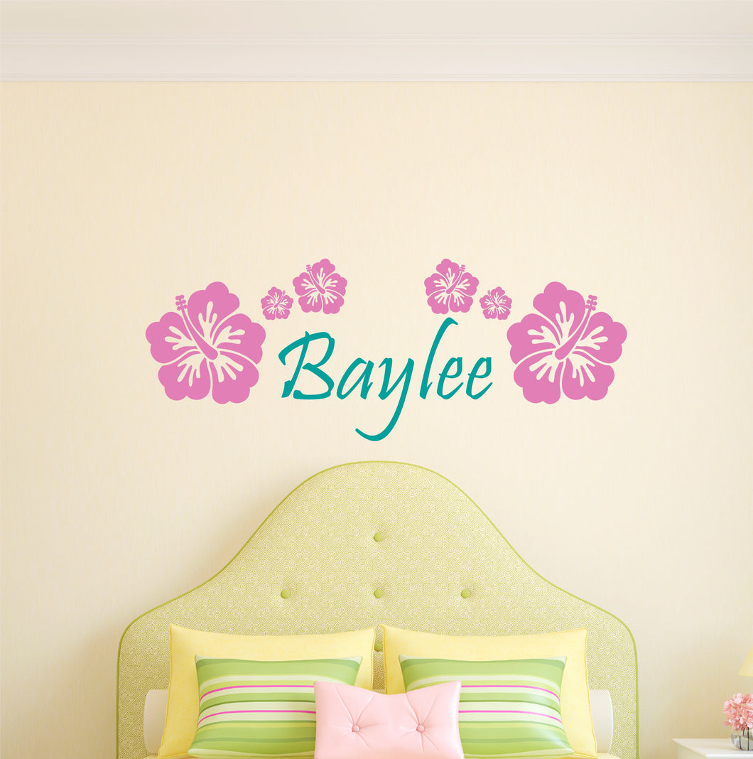 Personalized Name Hibiscus Flowers Wall Decal