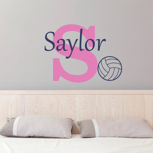 Personalized Name and Initial Volleyball Wall Decal