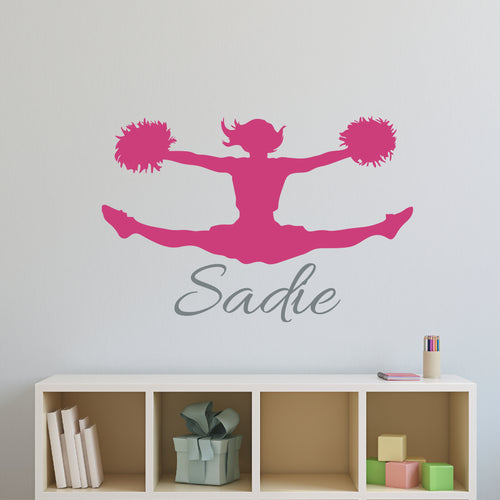 Personalized Name and Cheerleader Silhouette Wall Decal