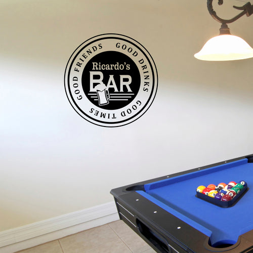 Personalized Bar Wall Decal