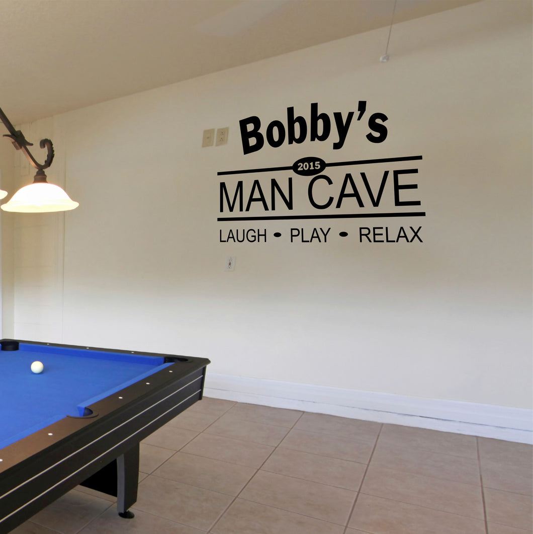 Laugh Play Relax Personalized Man Cave Wall Decal