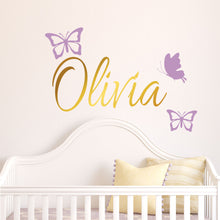 Load image into Gallery viewer, Personalized Name & Butterflies Wall Decal