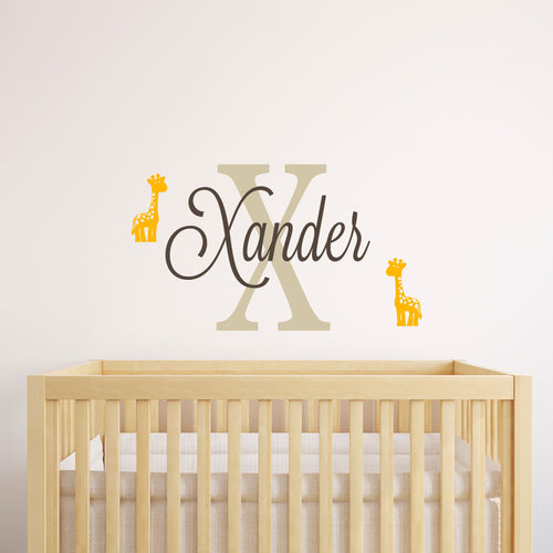 Personalized Name Baby Giraffe Wall Decal