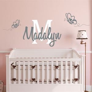 Personalized Name & Butterfly Wall Decal