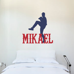 Personalized Name and Baseball Pitcher Silhouette Wall Decal