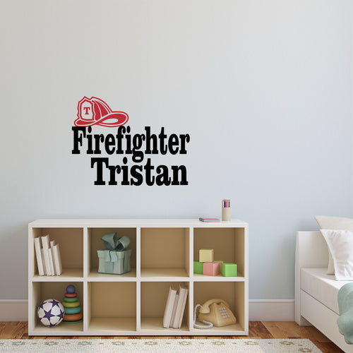 Personalized Name Firefighter Wall Decal