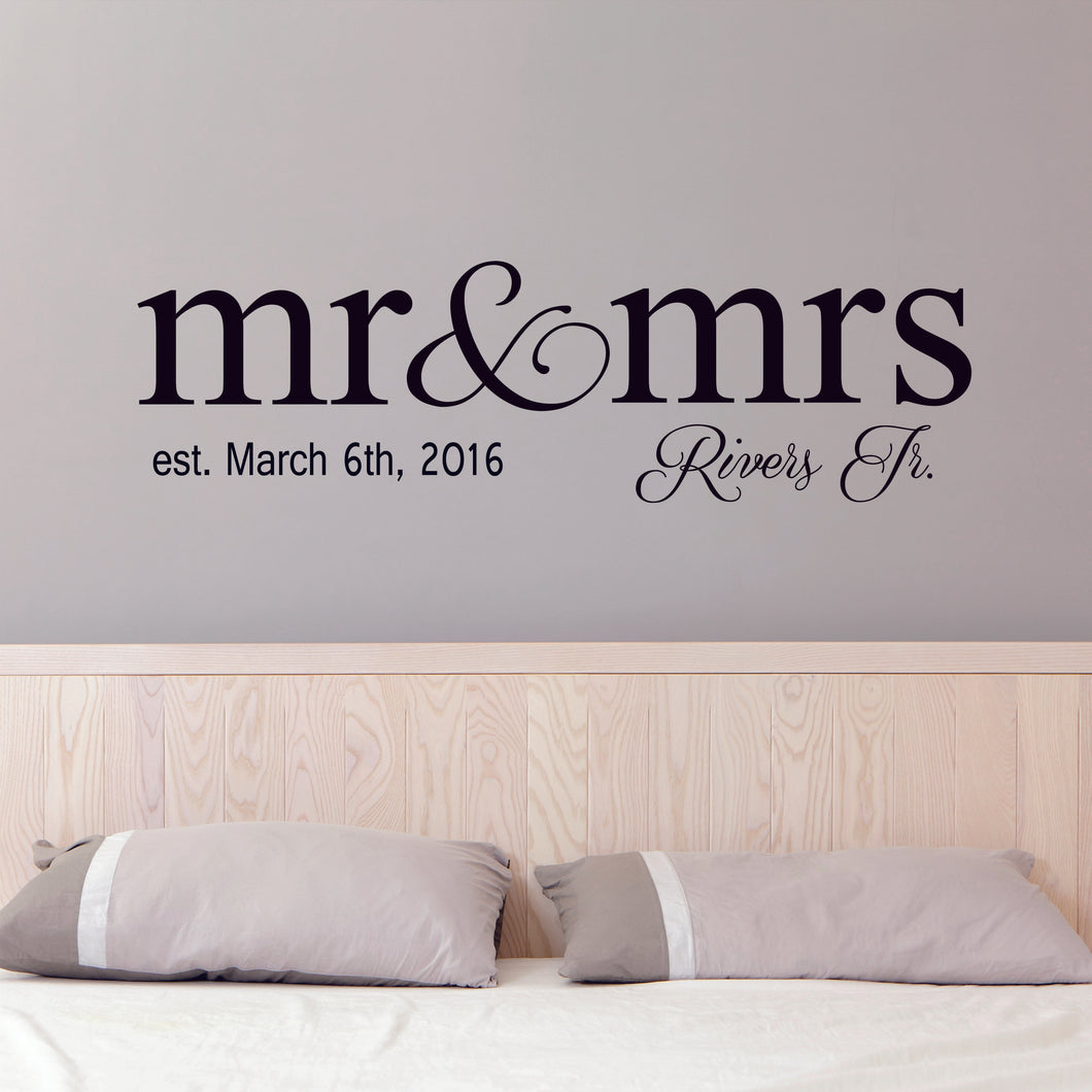 Personalized Mr & Mrs Name Wall Decal