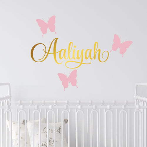 Personalized Name & Butterflies Wall Decal