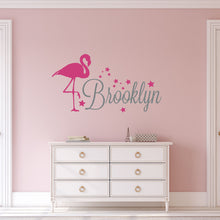 Load image into Gallery viewer, Personalized Name Flamingo Wall Decal