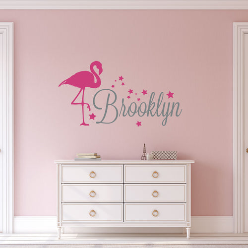 Personalized Name Flamingo Wall Decal