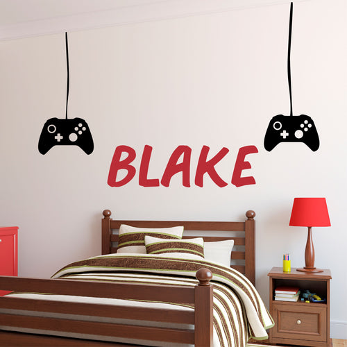 Personalized Name Gaming Controller Wall Decal