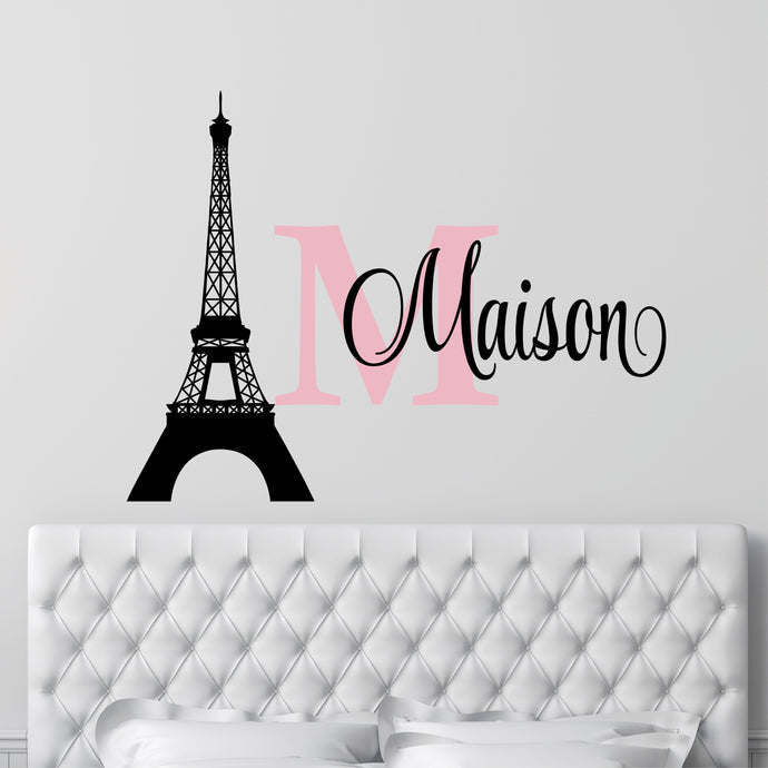 Personalized Name Paris Wall Decal
