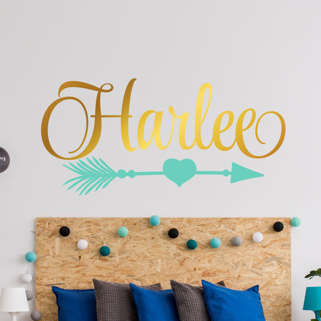 Personalized Name With Heart Arrow Wall Decal