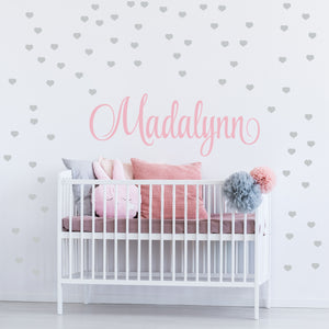 Personalized Name & Hearts Wall Decal