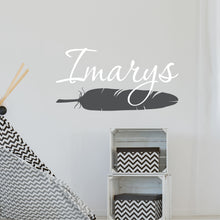 Load image into Gallery viewer, Personalized Name With Feather Wall Decal