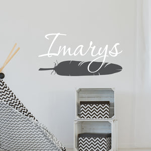 Personalized Name With Feather Wall Decal