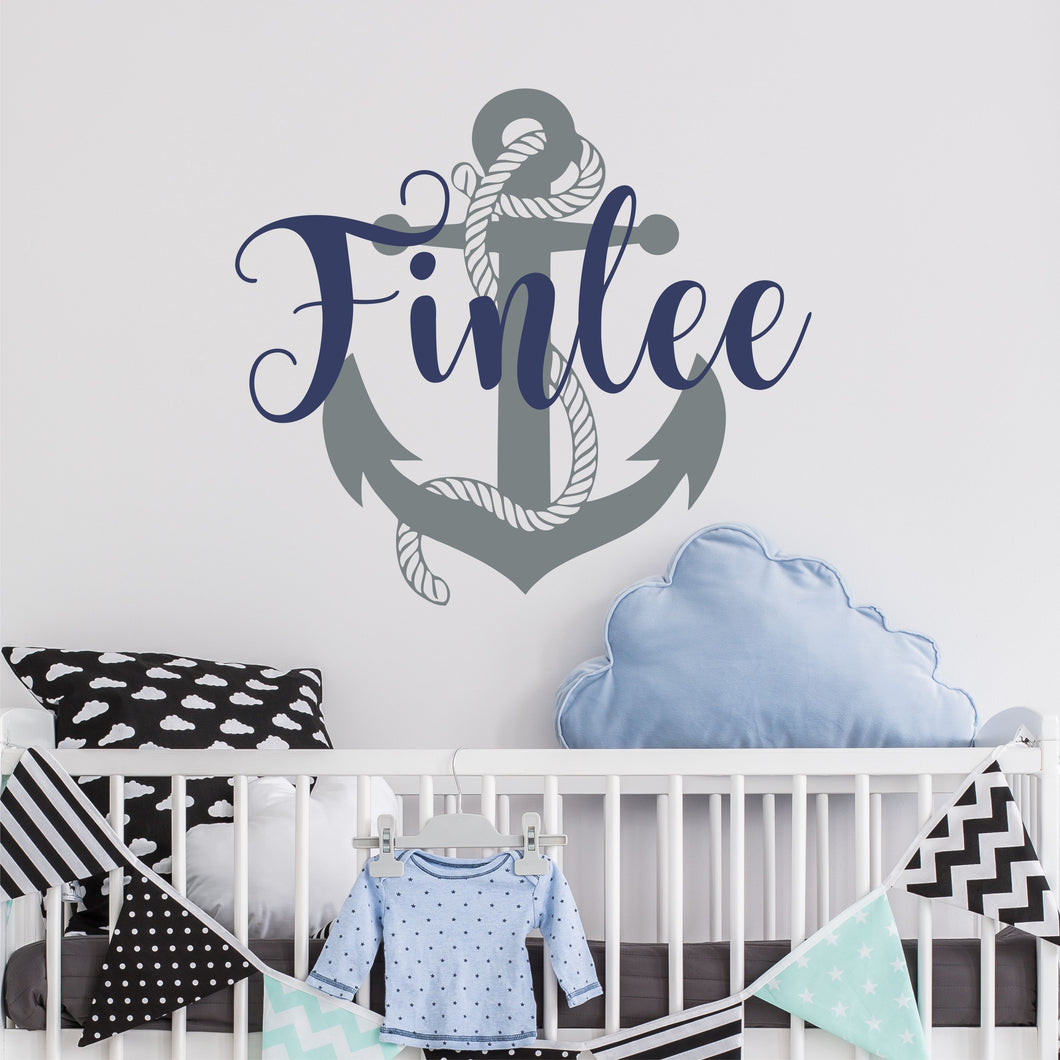 Personalized Name Anchor Nursery Wall Decal