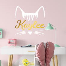 Load image into Gallery viewer, Personalized Name Kitty Cat Wall Decal