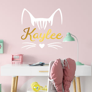 Personalized Name Kitty Cat Wall Decal