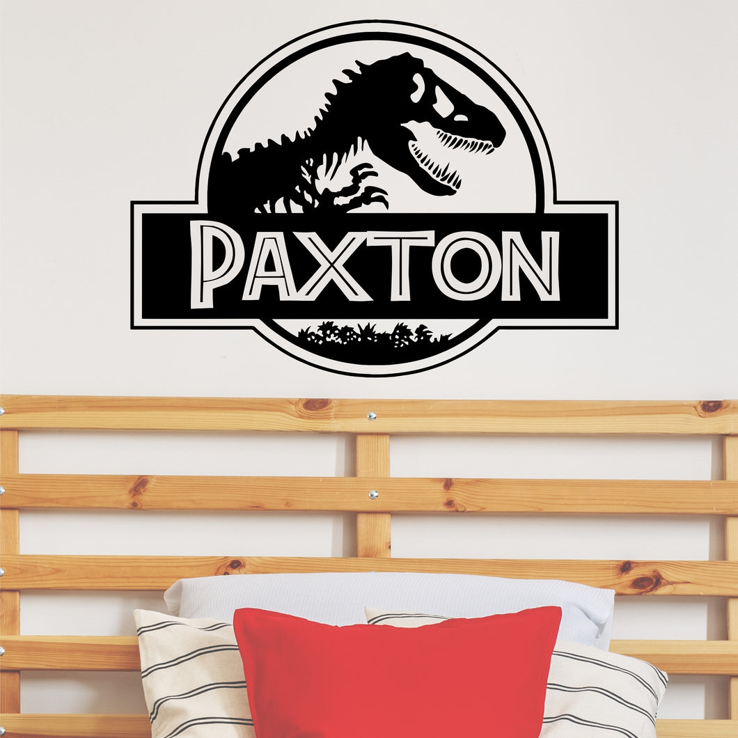 Personalized Name Dinosaur Wall Decal - Dinosaur Name Wall Sticker