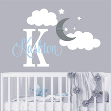 Load image into Gallery viewer, Personalized Name Wall Decal Moon Clouds & Stars Wall Sticker