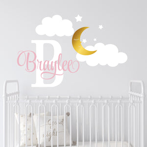 Personalized Name Wall Decal Moon Clouds & Stars Wall Sticker