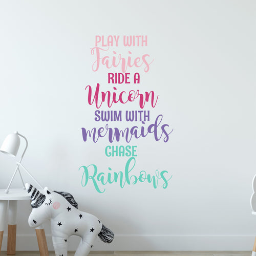 Play with Fairies Ride a Unicorn Wall Decal