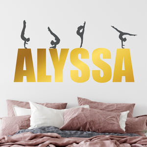 Personalized Name and Dancer Silhouettes Wall Decal