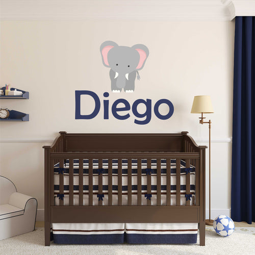 Personalized Name Elephant Wall Decal