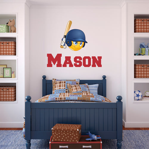 Personalized Name Baseball Emoji Wall Decal