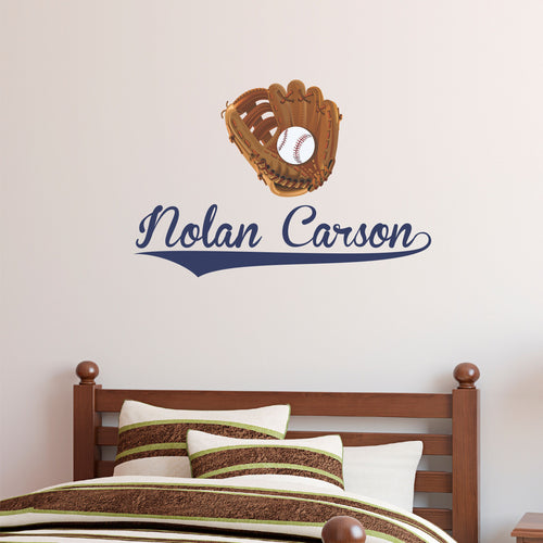 Personalized Name Baseball Glove Wall Decal