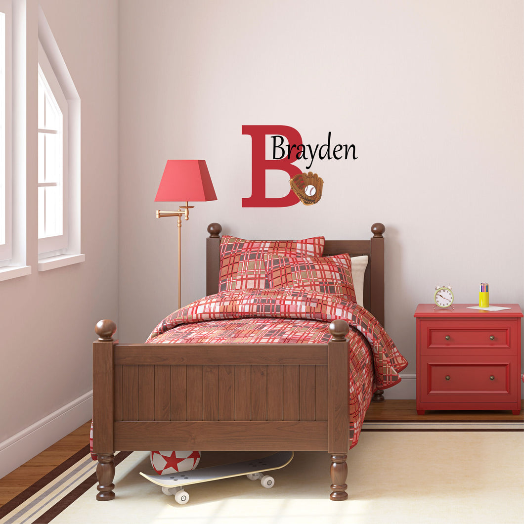 Personalized Name Baseball Wall Decal
