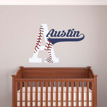 Load image into Gallery viewer, Personalized Name and Initial Baseball Wall Decal